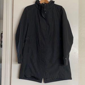 XXL trench coat dark gray w/ removable zip hood